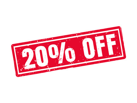 20 percent off in red stamp style, white background Illustration