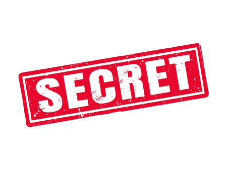 Secret in red stamp style, white background