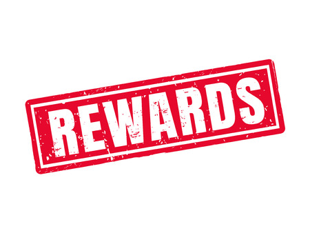 Rewards in red stamp style, white background