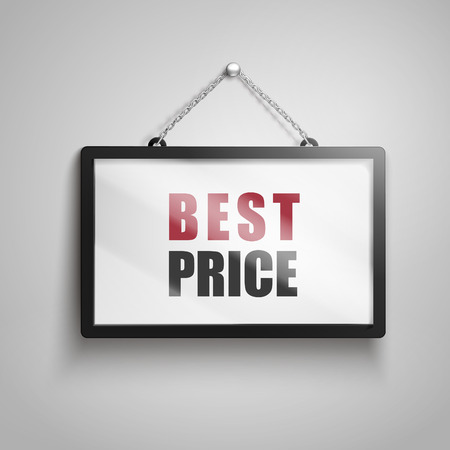 Best price text on hanging sign, isolated gray background 3d illustration