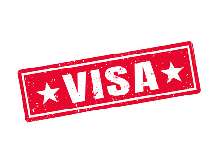 Visa in red stamp style, white background Ilustracja