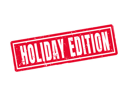 Holiday edition in red stamp style, white background