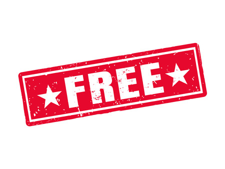 Free in red stamp style, white background