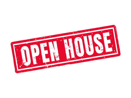 Open house in red stamp style, white background