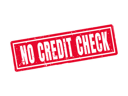 No credit check in red stamp style, white background Illustration