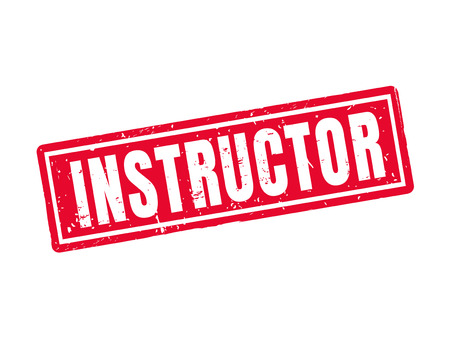 Instructor in red stamp style, white background