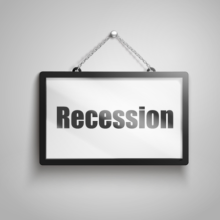 Recession text on hanging sign, isolated gray background 3d illustration Illustration