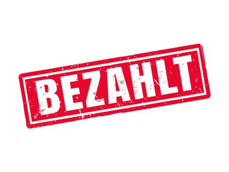 Pagado de la palabra roja en el texto alemán sobre fondo blanco Foto de archivo - 78181965