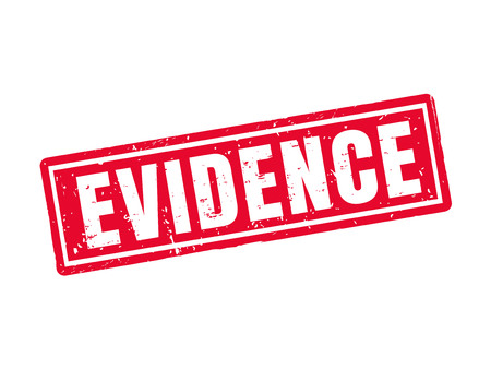 Evidence in red stamp style, white background