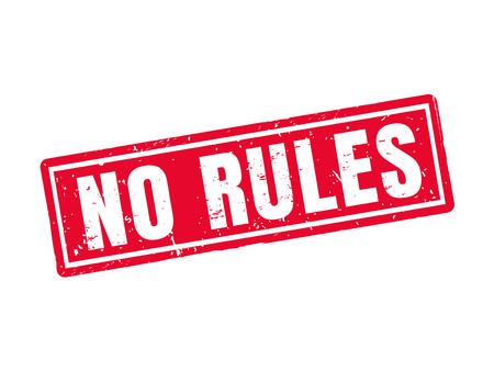 No rules in red stamp style, white background Stock Illustratie