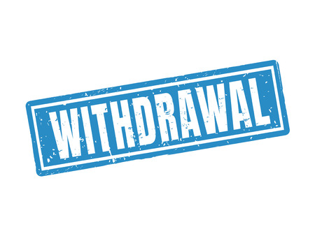 Withdrawal in blue stamp style, white background Çizim