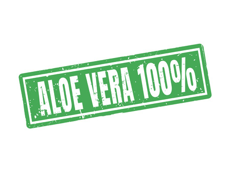Aloe vera 100 percent in green stamp style, white background