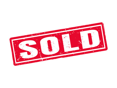Sold in red stamp style, white background