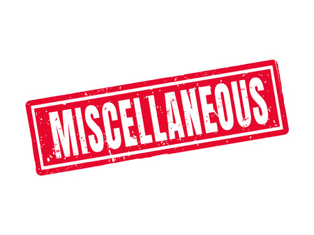 Miscellaneous in red stamp style, white background Illustration