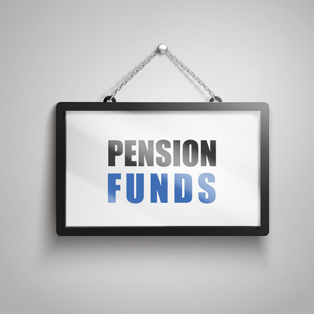Pension funds text on hanging sign, isolated gray background 3d illustration