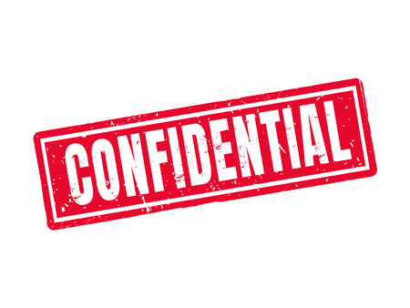 Confidential in red stamp style, white background Stok Fotoğraf - 78182561