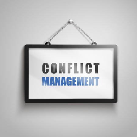 Conflict management text on hanging sign, isolated gray background 3d illustration