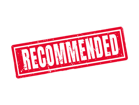 Recommended in red stamp style, white background