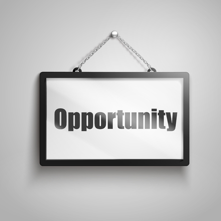 Opportunity text on hanging sign, isolated gray background 3d illustration Çizim