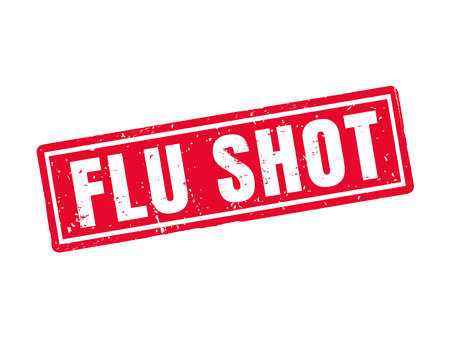 Flu shot in red stamp style, white background