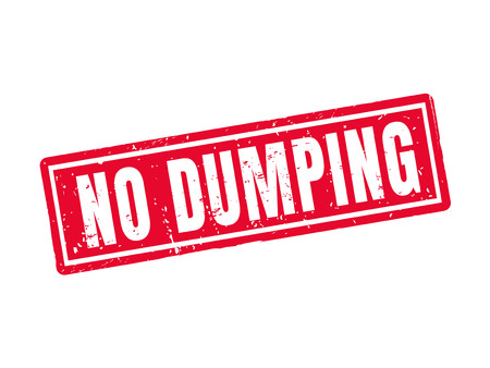 No dumping in red stamp style, white background