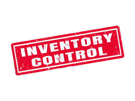 Inventory control in red stamp style, white background