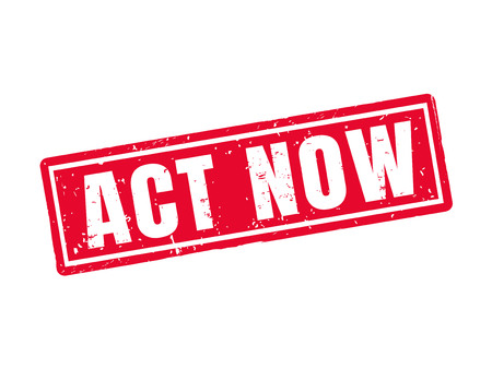 act now in red stamp style, white background Illustration