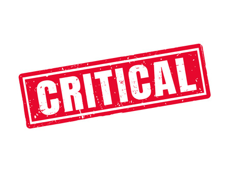 Critical in red stamp style. Illustration