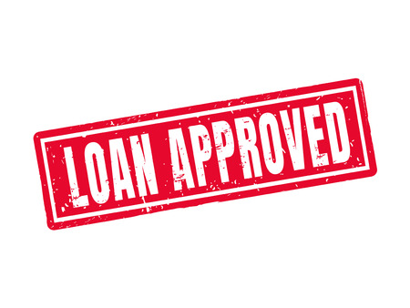 Loan approved in red stamp style. Stok Fotoğraf - 78182380