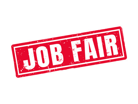 Job fair in red stamp style. Illustration