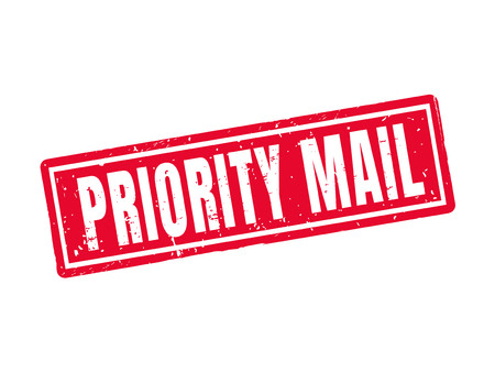 Priority mail in red stamp style, white background Ilustracja
