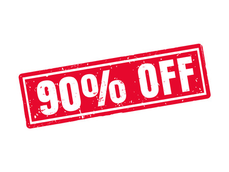 90 percent off in red stamp style, white background 向量圖像