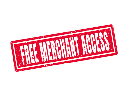 Free merchant access in red stamp style, white background