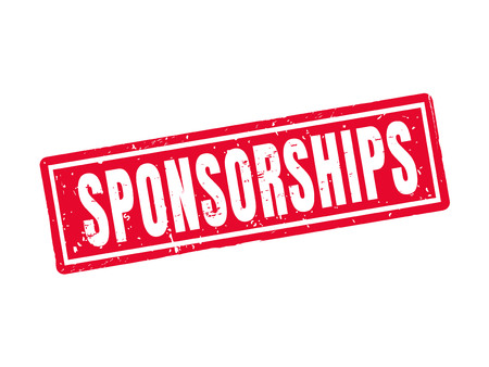 Sponsorships in red stamp style, white background