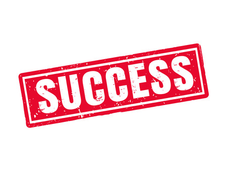 Success in red stamp style, white background