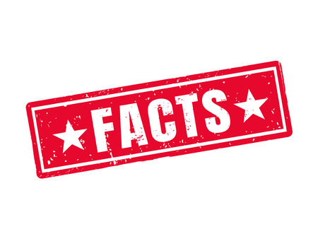 Facts in red stamp style, white background Çizim