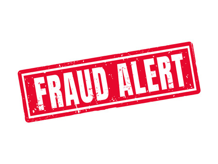 Fraud alert in red stamp style, white background