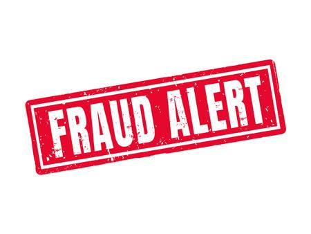 Fraudealarm in rode stempelstijl, witte achtergrond Stock Illustratie