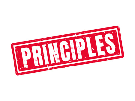 Principles in red stamp style, white background Illustration