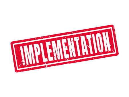 implementation in red stamp style, white background