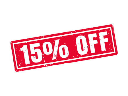 15 percent off in red stamp style, white background