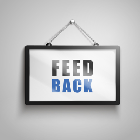 Feedback text on hanging sign, isolated gray background 3d illustration
