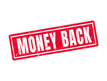 money back in red stamp style, white background