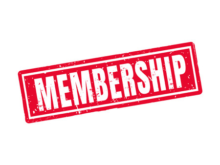Membership in red stamp style, white background Ilustrace