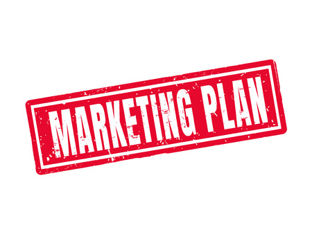 marketing plan in red stamp style, white background Illustration