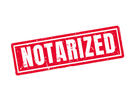 notarized in red stamp style, white background