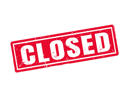 Closed in red stamp style, white background