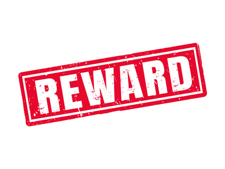 Reward in red stamp style, white background