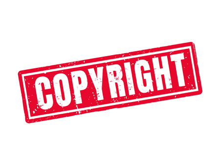 copyright in red stamp style, white background Çizim