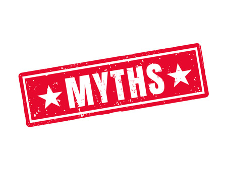 myths in red stamp style, white background Illustration